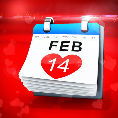 heart month: 3D calendar showing valentines day on red  background