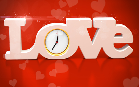 paramour: 3D love text with watch on red background