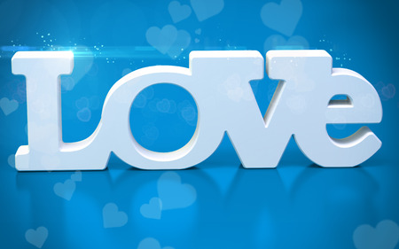 paramour: 3D love text with hearts  on blue  background