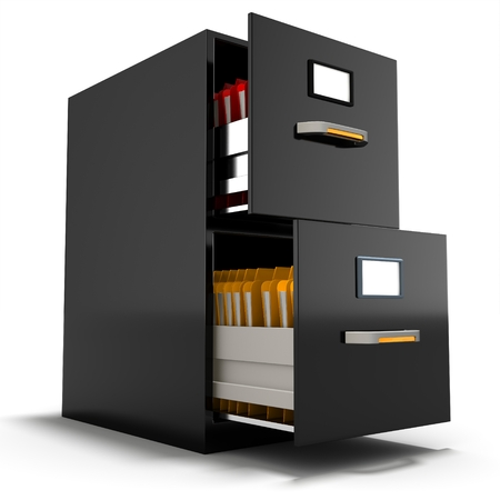 file cabinet: 3d file cabinet with files on a white background