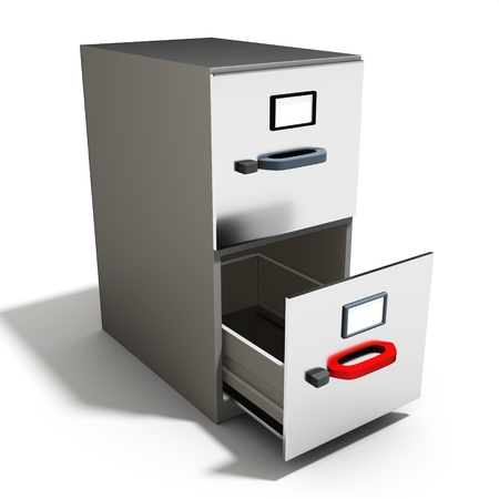 open file: 3d empty open file cabinet on a white background