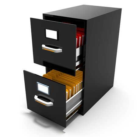 filling folder: 3d file cabinet with files on a white background