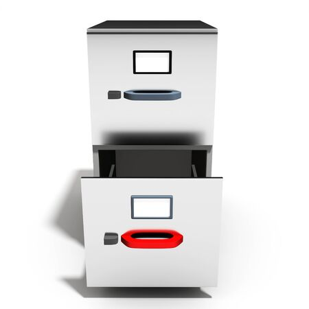 file cabinet: 3d empty open file cabinet on a white background
