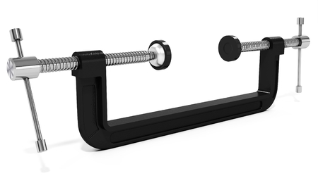 carpenter vise: 3d large clamp compression tool on white background