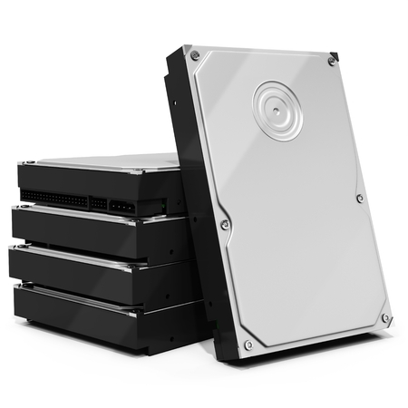 diskdrive: 3d HDD  hard drive disk stack on white background