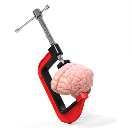 vise: 3d vise and brain,  stress concept on white background Stock Photo
