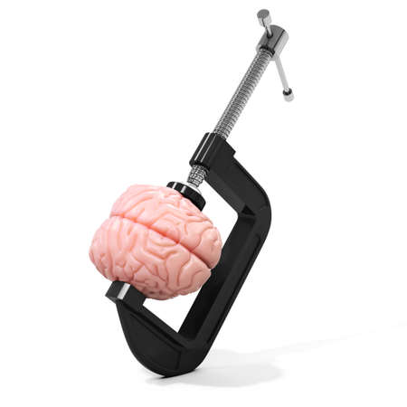 squeeze: 3d vise and brain,  stress concept on white background Stock Photo