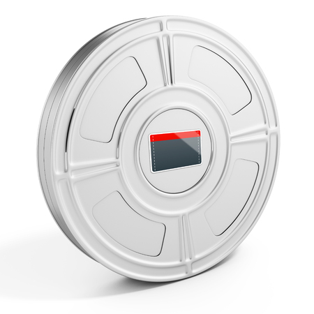 cinema film: 3d film case with label on white background