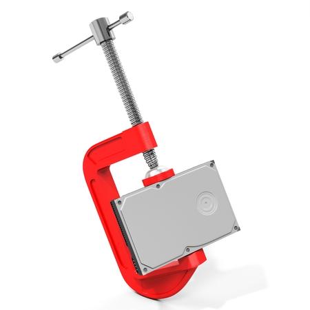 megabyte: 3d hard disk drive in vise, data compression concept Stock Photo