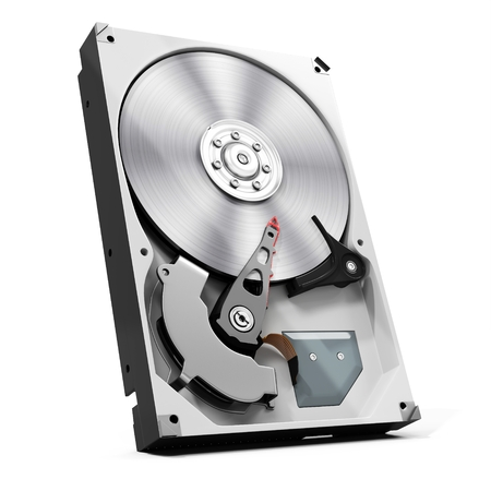terabyte: 3d detailed open hard drive disk  on white background Stock Photo