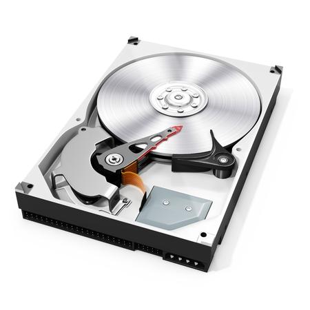 3D detallado abierto del disco del disco duro en el fondo blanco