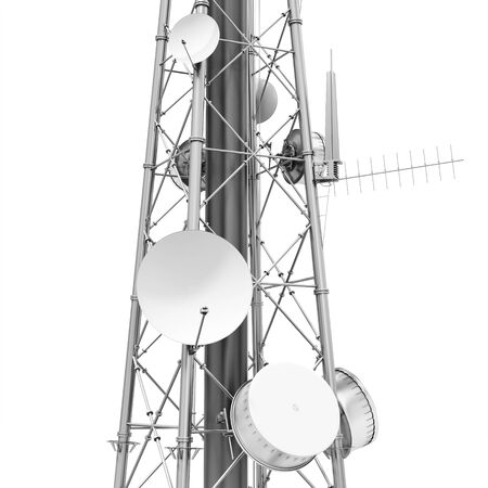 wireless communication: 3d detailed communication tower, wireless equipment on white background