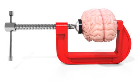 squeezed: 3d vise and brain,  stress concept on white background Stock Photo