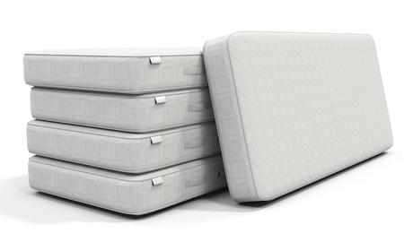 mattress: 3d white mattress stack on white background Stock Photo