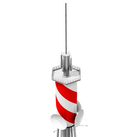 microwave antenna: 3d detailed communication tower, wireless equipment on white background