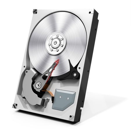 diskdrive: 3d detailed open hard drive disk  on white background Stock Photo