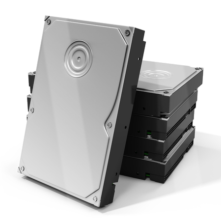 hdd: 3d HDD  hard drive disk stack on white background