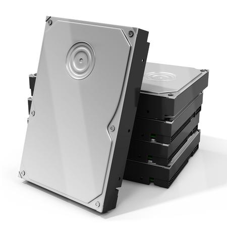 pila de discos del disco duro HDD 3d en el fondo blanco