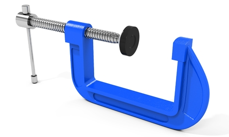 carpenter vise: 3d clamp compression tool on white background
