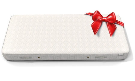 mattress: 3d white mattress with red bow on white background