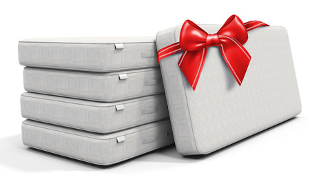 beds: 3d white mattress stack  with red bow on white background