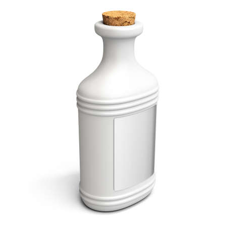 cork screw: 3d white potion bottle with cork screw on white background