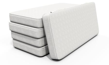 3d white mattress stack on white background 免版税图像