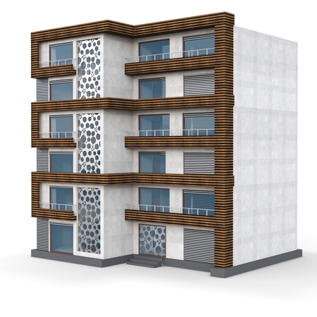 facade: 3d contemporary apartment block  on a white background