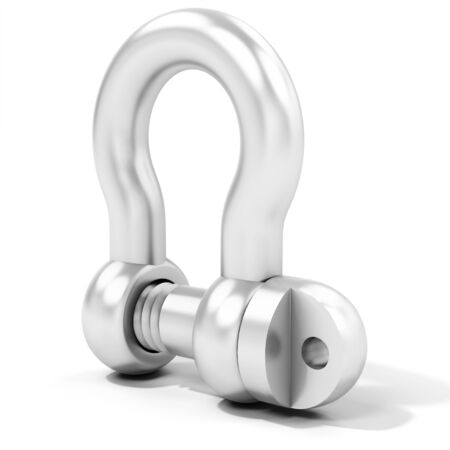 shackle: 3d heavy duty pin bow shackle on white background