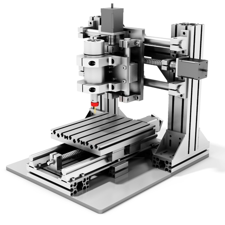 cnc: 3d detailed cutter CNC router metallic on white background