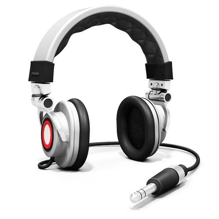 auriculares dj: Auriculares de DJ 3d con el conector de audio en el fondo blanco
