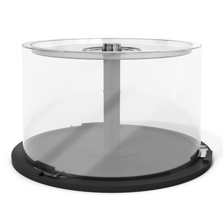 spindle: 3d empty DVD CD stack case,plastic spindle on white background Stock Photo