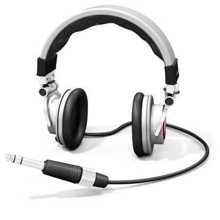 entertainment equipment: 3d DJ headphones with audio jack on white background