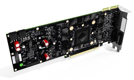 e work: 3d generic detailed  graphic video card on white background