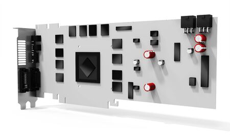 dvi: 3d blank generic graphic video card on white background Stock Photo