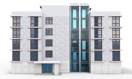 apartment block: 3d contemporary apartment block  on a white background