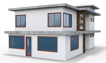 contemporary house: 3d contemporary house on a white background Stock Photo