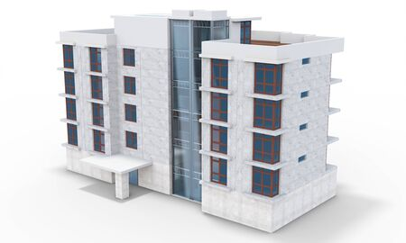 architecture model: 3d contemporary apartment block  on a white background