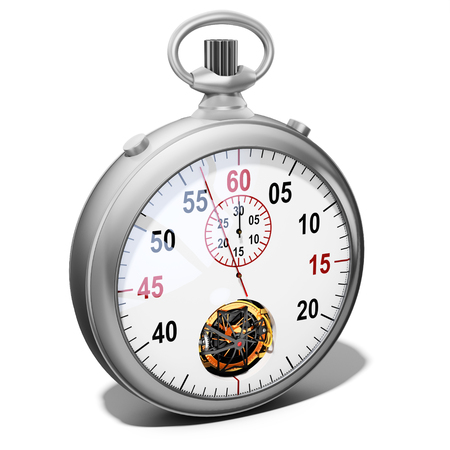 3d detailed stopwatch on white background Stock Photo