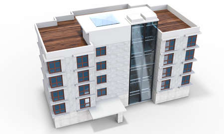render: 3d contemporary apartment block  on a white background