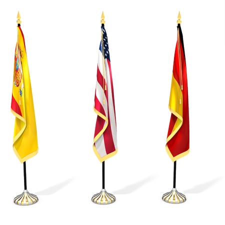 illustration collection: 3d flag collection with pole on white background 3D illustration