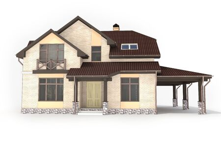 3d contemporary house on a white background Stock Photo