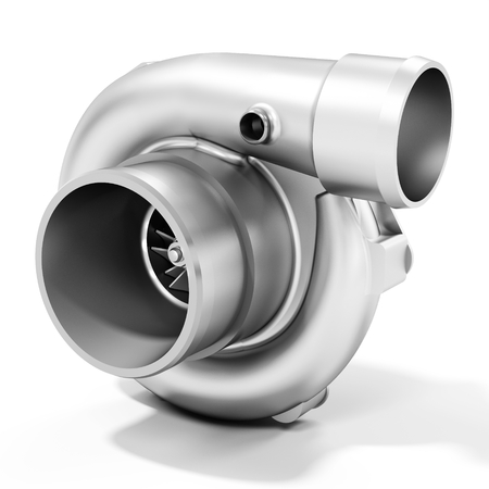 high torque: 3d turbine turbo charger, car booster on white background 3D illustration