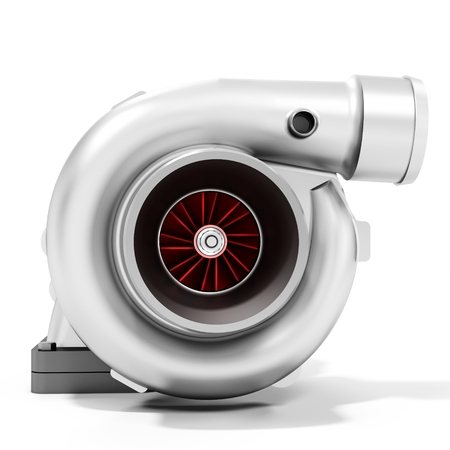 booster: 3d turbine turbo charger, car booster on white background 3D illustration