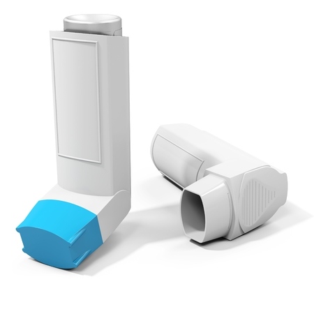 inhaler: Blue cap  medicine inhaler on white background 3D illustration Stock Photo