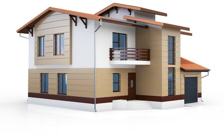 contemporary house: 3d contemporary house on a white background 3D illustration