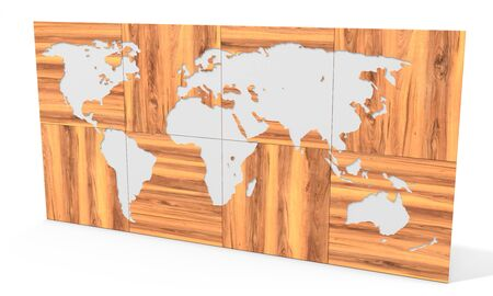 communication industry: 3d  map made of wooden blocks wallpaper on white background 3D illustration Stock Photo