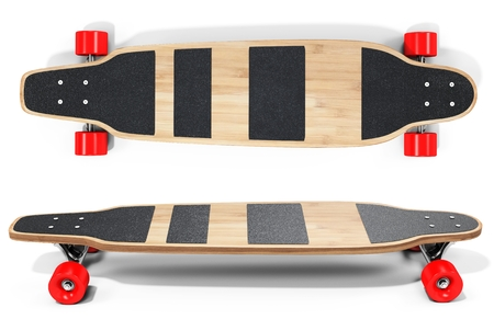 skateboard park: 3d wooden longboard, skateboard with red wheels on white background 3D illustration Stock Photo