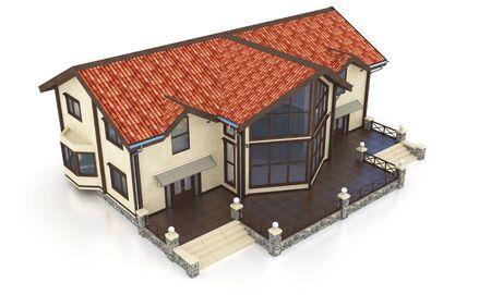 modern house exterior: 3d modern house exterior on a white background 3D illustration