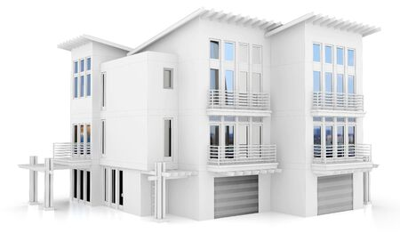 apartment block: 3d contemporary apartment block  on a white background 3D illustration